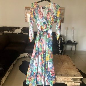 The Moon floral print long sleeves maxi dress S